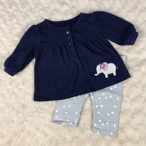 Baby Girl Elephant Polka Dot Outfit Newborn Blue